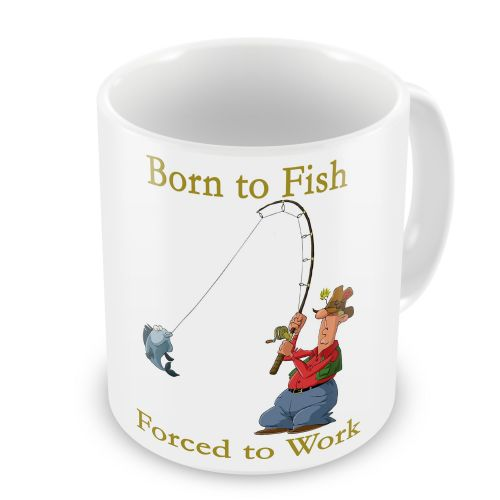 Born To Fish Forced To Work Novelty Gift Mug